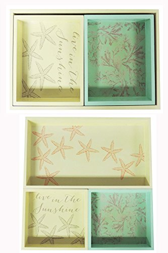 Sheffield Home Laquer Paint Jewelry Decorative Nature Starfish Set of 3 Nesting Trays - Mediterranean Set Dresser