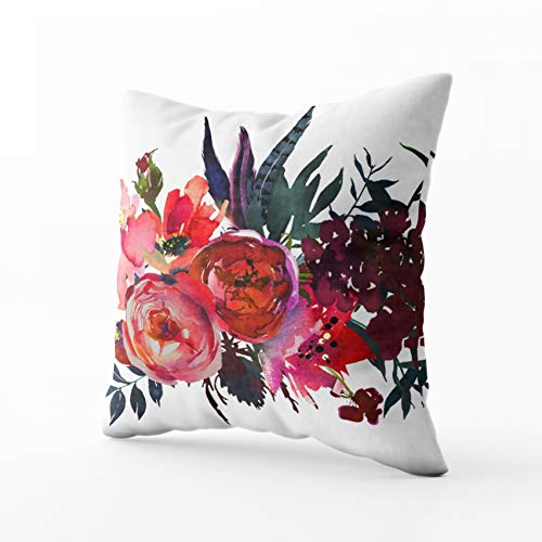 HerysTa Zip Pillow Case Home Decorative Throw Pillow Cover 16X16inch Invisible Zipper Cushion Cases Watercolor Flowers Red Navy Blue Magenta Pink Bouquet Landscape Square Sofa Bed Décor (Paisley Shower Baby Invitations Pink)