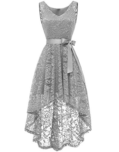 BeryLove Women's Floral Lace Hi-Lo Bridesmaid Dress V Neck Cocktail Formal Swing Dress BLP7018Grey3XL ()