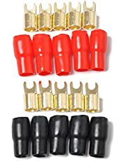 WINOMO 5 Pairs 4 Gauge Strip Spade Terminal Spade Fork Adapters for Speaker Wire Cable