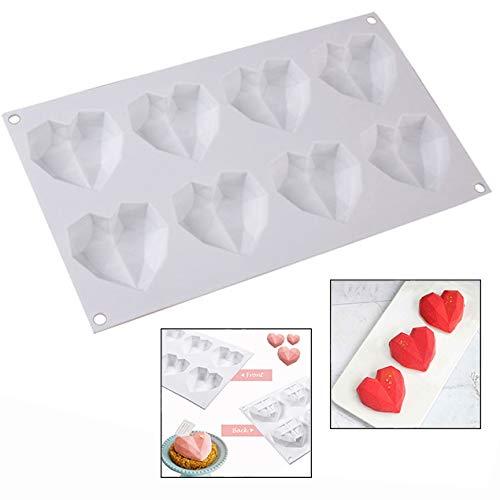LHKJ Moule à Chocolat Moule à Glace en Forme de Coeur, 8 Grilles en Silicone pour Moules à Bonbons Diamantés 3D