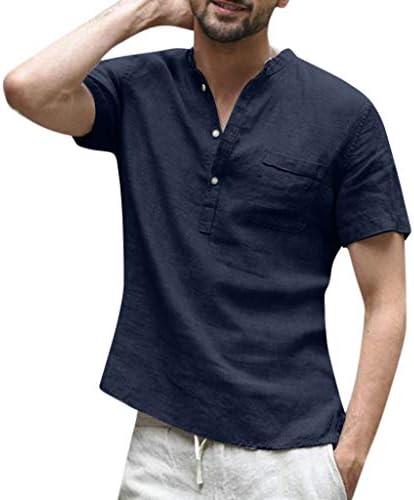 Men`s Shirts Summer Cotton Linen Short Sleeve Shirts Casual V-Neck Button-Up Hippie TopsPocket