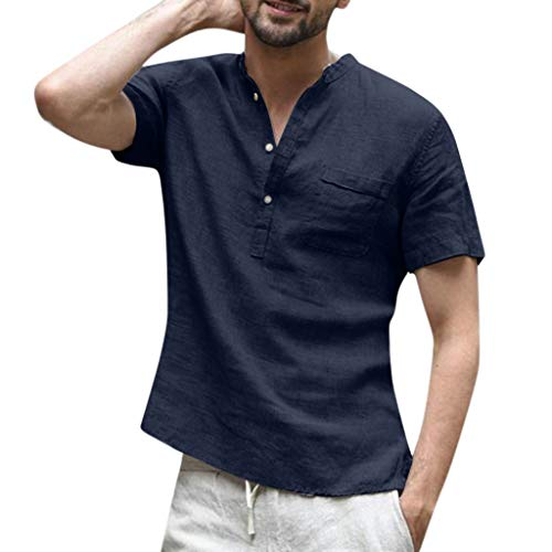Mens Short Sleeve Henley Shirts Summer Cotton Linen Beach Yoga Loose Fit Tops with Pocket (2XL, ()