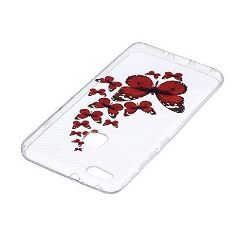 Funda para Huawei P10 Lite , IJIA Transparente Hermosas Rosas TPU Silicona Suave Cover Tapa Caso Parachoques Carcasa Cubierta para Huawei P10 Lite (5.2) HX30