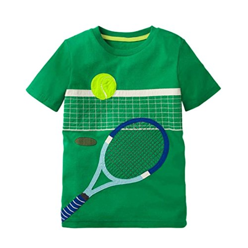 2018 Clearance Sale Unisex Kids Baby Summer Cotton Short Sleeve Cartoon T-Shirt Tee Tops Blouse 2-8 Years (Green, 4T) from Aritone - Baby Clothes