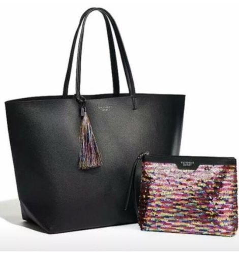 Victoria Secret Black Friday Tote Bag with Rainbow Sequin Tassel travel bag 2016 Holiday Limited Edition (Victoria Secret Black Friday Tote Bag 2016)