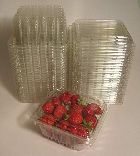 Plastic Clamshell Containers for Berries, Cherry Tomatoes, and Other Small Produce - 1 Pint Size (Pack of 50) ()