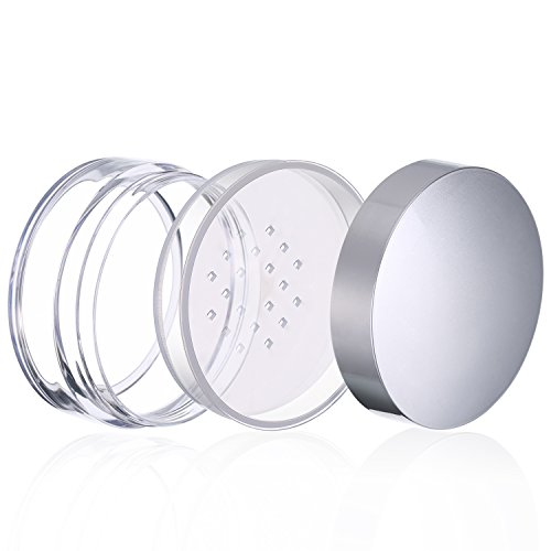 964f598e44b6 Hotop 3 Pieces 50 ml Plastic Empty Powder Case Face Powder Makeup Jar  Travel Kit Blusher Cosmetic Makeup Containers with Sifter and Lids (Silver  ...
