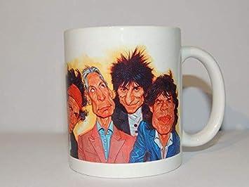 mugtime (TM) - Rolling Stones caricatura - Taza de regalo taza - Mick Jagger Keith Richards guitarra - Música Rock - cerámica 330 ml: Amazon.es: Hogar