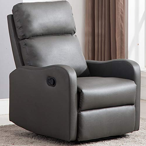 CANMOV Chair Contemporary Leather Recliner Chair for Modern Living Room Single Sofa, Classic Recliner Chair, Grey