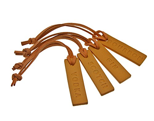 Liquor Decanter Bottle Tags for Whiskey Bourbon Vodka and Gin, Genuine Leather - set of 4 (Brown)