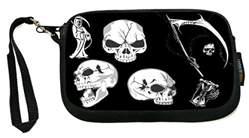 Rikki Knight Grim Reaper Skulls on Black - Neoprene Clutch Wristlet Coin Purse with Safety Closure - Ideal case for Cosmetics Case, Camera Case, Cell Phones, Passport, etc.. - Grim Reaper Makeup