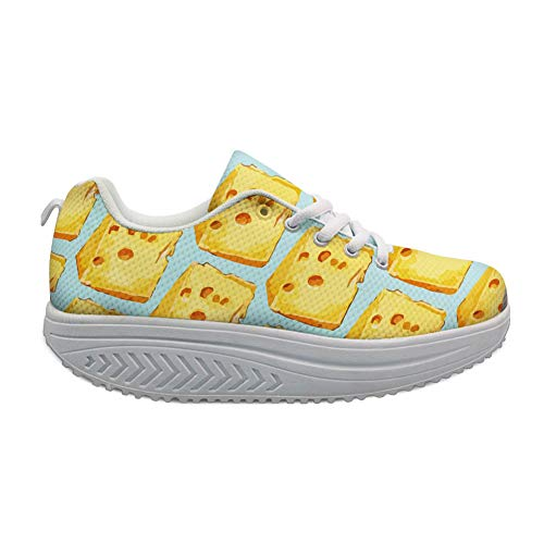 Bigcardesigns Funny Food Design Women Wedge Platform Shoes Sneaker Walking Cheese(Size US 8=EUR - Cheese Arc