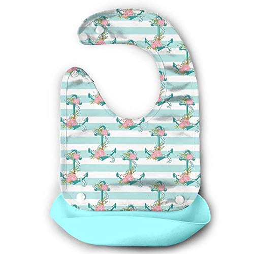 - Leopoldson Stripe Anchor Flower Gift Waterproof Baby Roll Up Bib Silicone Bibs Toddlers With Pocket