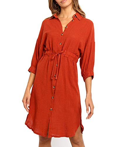 R.Vivimos Women's Summer 3/4 Sleeve Linen Button Down Casual Knee Length Shirt Dress with Tie Waist (XL, Orange)