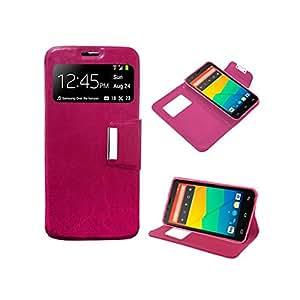 Funda Cuero Piel para Samsung Galaxy Ace 2 i8160 Rosa Fucsia con Soporte e Identificador de Llamada