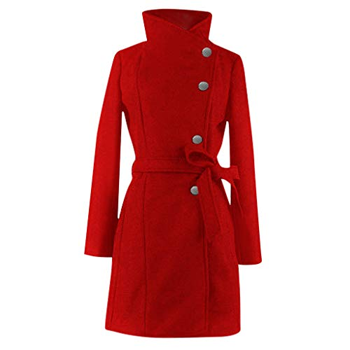 Womens Winter Lapel Wool Outwear Trench Jacket Long Sleeve Overcoat Coat Tops Red