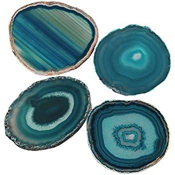 AMOYSTONE Teal Agate Coaster 3.5-4