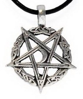 Pixel Jewelry 1985 - PENTAGRAM INVERTED Pewter Pendant Leather Necklace