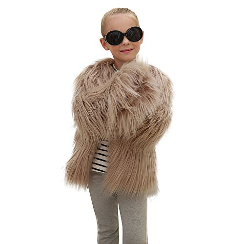 WuyiMC Little Kids Girls' Outerwear Jacket Winter Long Sleeve Fluffy Faux Fur Warm Coat (3-4 Toddlers, Khaki)