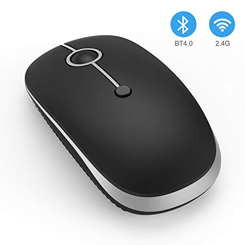 Wireless Bluetooth Mouse, Jelly Comb Slim Dual Mode 2.4GHz Wireless and Bluetooth Mouse with 2400 DPI for PC, Laptop, Mac, Windows (Black and Silver)