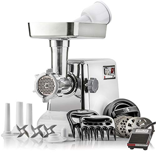 STX Turboforce Platinum Edition Electric Meat Grinder w Foot Pedal Sausage Stuffer – Heavy Duty – 4 Grinding Plates, 3 S S Blades, 3 Sausage Tubes, Kubbe Attachment, 2 Meat Claws and Burger Press