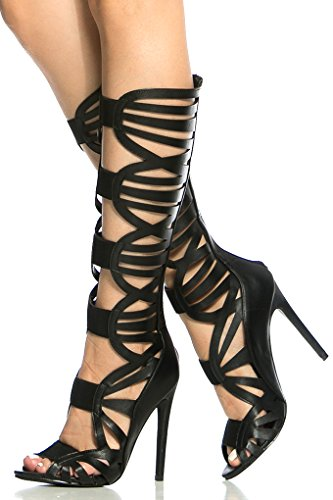 DIAMOND FAUX LEATHER MATERIAL BACK ZIPPER MULTI STRAP LOOK GLADIATOR INSPIDIAMOND KNEE HIGH HEEL BOOTS Black 0UjaWx0yH
