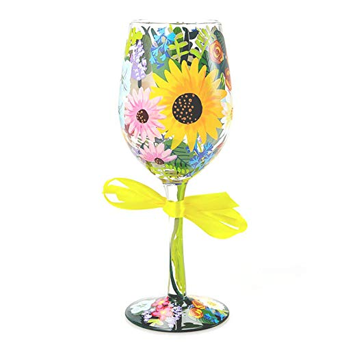 "Enesco Designs by Lolita ""Wildflowers"" Hand-painted Artisan Wine Glass, 15 oz"