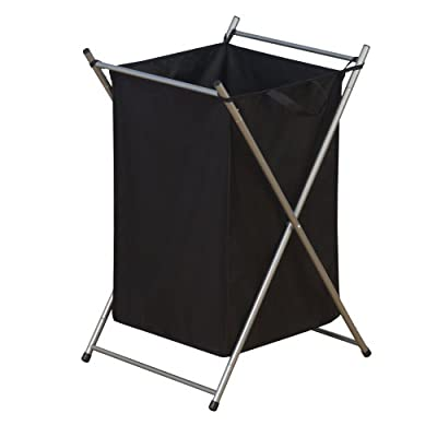 Household Essentials Folding Laundry Hamper with Black Polyester Bag, Satin Silver Frame - Large bag with carry handles; Bag holds two loads of laundry; Machine washable bag; - laundry-room, hampers-baskets, entryway-laundry-room - 41mo3cks2gL. SS400  -