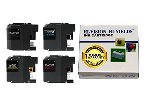 HI-VISION® Compatible Brother LC205 LC207 XXL Super High Yield Black,Cyan,Yellow,Magenta ink cartridges replacement for MFCJ4320DW,J4420DW,J4620DW Color printer LC207BK,LC205C,LC205Y,LC205M 4pks