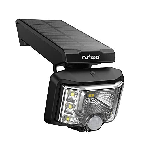 Asiwo 8 LED Wireless Motion Sensor, IP65 Waterproof Outdoor Security Solar Powered Wall Lights for Patio, Garage, Garden, 1 Pack, Black