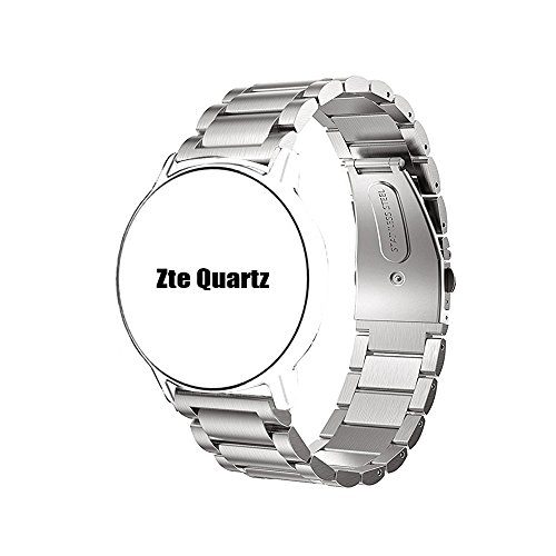 Price comparison product image ZTE Quartz Smartwatch Band, Lamshaw Stainless Steel Metal Replacemet Straps for ZTE Quartz Smartwatch (Silver)
