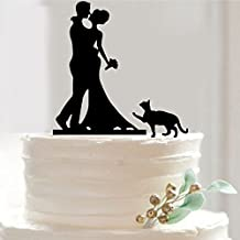 Funny Wedding Cake Toppers, Custom Wedding Cake Topper,Bouquet Silhouette Bride Groom,Cake Topper,Pet Cat Cake Topper, Unique Cake Topper