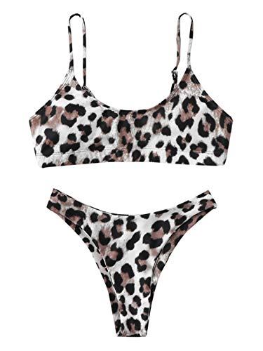 SweatyRocks Women's Bathing Suits Spaghetti Strap Leopard Print Thong Bikini Swimwear Set Leopard Medium