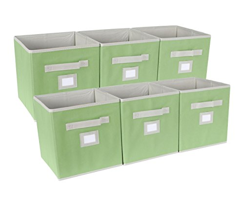 EPG-Life 6 Pack Collapsible Storage Cubes Foldable Basket Bins Organization with Label Holder and Dual Fabric Handle, Green