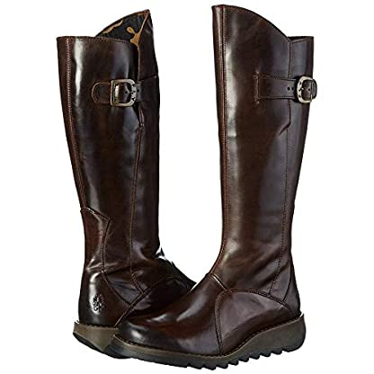 Fly london Mol 2 Dark Brown Leather Womens Knee Hi Boots 5