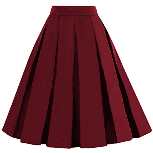 ntage A-Line Printed Pleated Flared Midi Skirts Burgundy Small (Reds And Vintage Skirt)