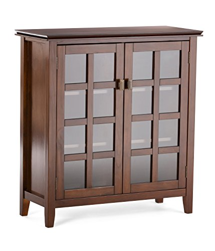 Glass Front Media Cabinet - Simpli Home Artisan Solid Wood Medium Storage Cabinet, Medium Auburn Brown