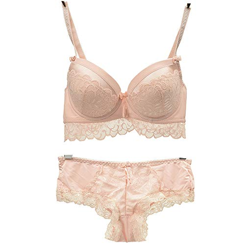 Women's Lace Bra Set Sexy Lingerie Bra and Panties Push Up Underwire Bra (Beige, 40B) ()