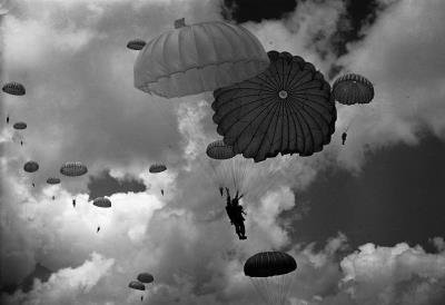 (12x18) Military Parachute Archival Photo Indoor/Outdoor Plastic Sign