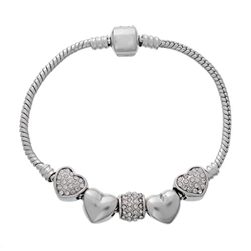Souarts Bracelet Charm Perles Spacer Strass Forme Cœur Couleur Argent Mat 19cm