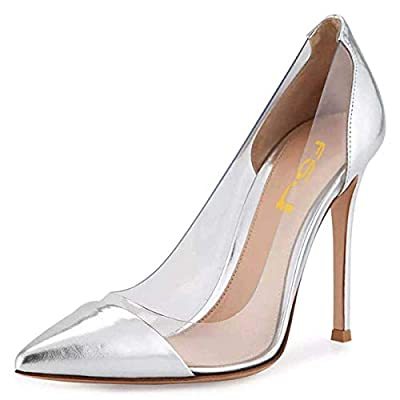 FSJ Women Elegant Stiletto Clear Pumps High Heels Slip On Sandals Party Wedding Dress Shoes Size 4-15 US