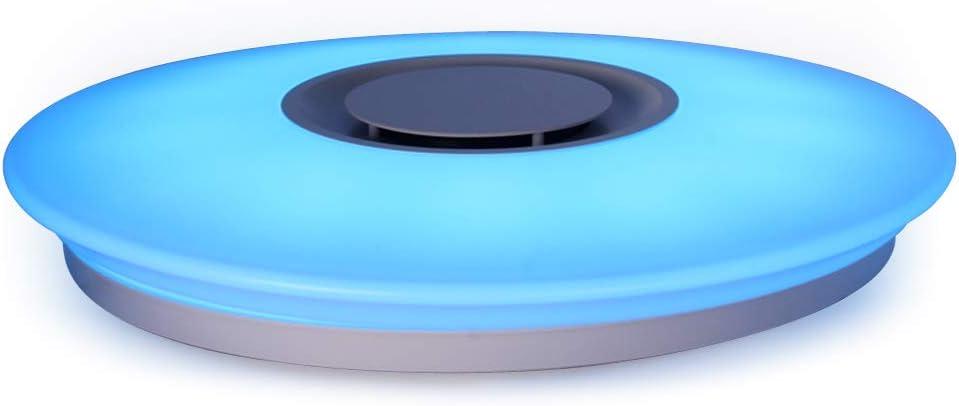 HOREVO Luces Lámpara Plafón de techo LED 36W Regulables con Música Altavoz Bluetooth y Aplicación Móvil, RGBW, Interruptor de luz Blanca a Caliente 3300K-6500K 3600LM