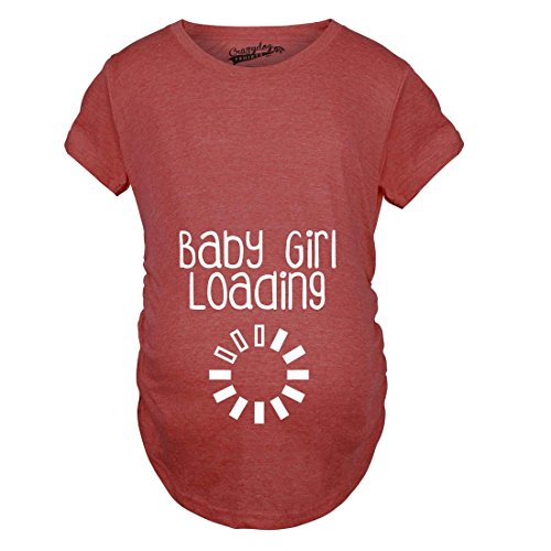 Crazy Dog TShirts - Maternity Baby Girl Loading Funny Pregnancy Announcement Baby Bump T shirt (Red) M - damen - M