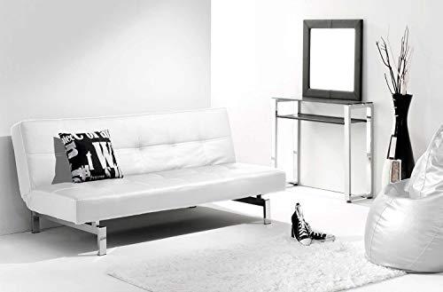 Adec - Chic, Sofá cama sistema clic clac, sofa tapizado polipiel patas cromadas, acabado color Negro, medidas: 180 x 85/105 cm