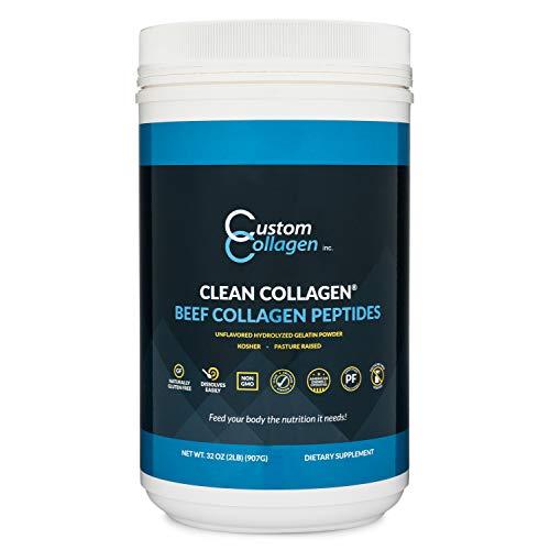 Collagen Peptides Powder 2lb (32oz) Jar - Clean Collagen® - Unflavored, Grass Fed, Paleo, Non GMO, Kosher - Highly Soluble Protein