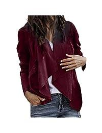 Kimloog Women Long Sleeve Leather Open Front Short Cardigan Work Office Coat Jacket