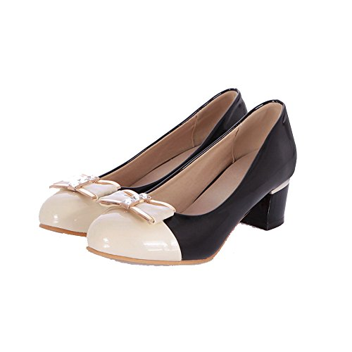 AmoonyFashion Womens Pull On Round Closed Toe Kitten-Heels Assorted Color Pumps-Shoes Black xdDDL