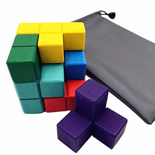 AlleTechPlus Soma Cube Wood Tetris Puzzle Box 7 Colorful Bricks Cube Stacking Blocks Games with A Carry Bag