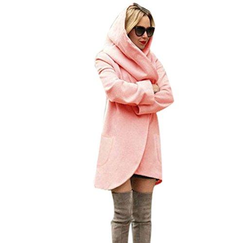Elevin(TM)Women Fashion Slim Long Jacket Windbreaker Parka Cardigan Coat Outwear (XXL, Pink)
